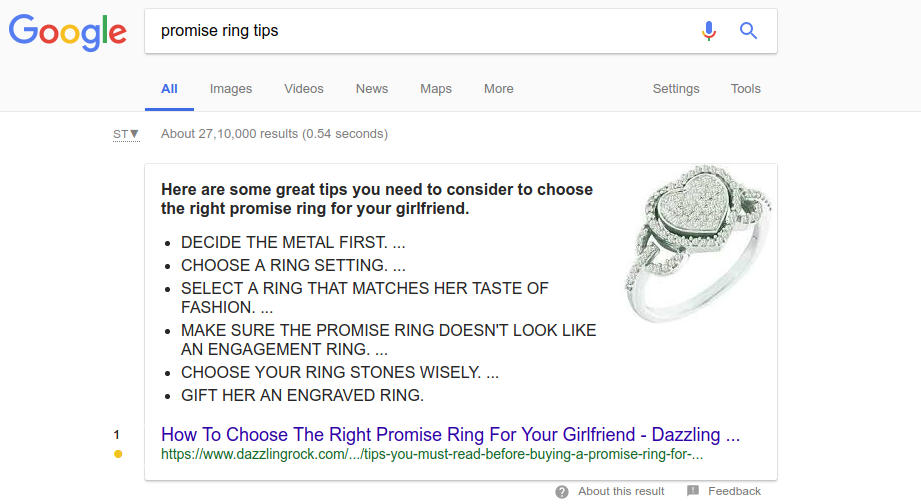 featured snippet - promise ring tips - dazzlingrock.com